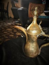 "VINTAGE BRASS HEAVY TURKISH COFFEE POT DALLAH WITH MAKER STAMP  11"" HIGH"